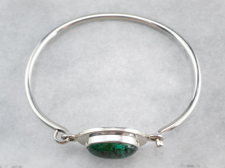 Mexico Silver Chrysocolla Bangle Bracelet
