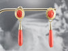Mid Century Coral Cameo Drop Earrings