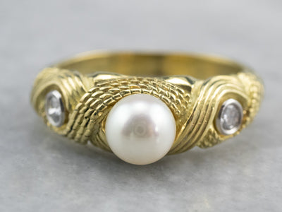 Nautical Pearl and Diamond Ring