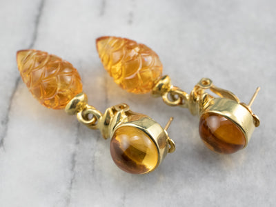 Pinecone Carved Citrine Drop Earrings