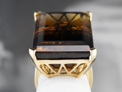 Bold Gold Smoky Quartz Cocktail Ring