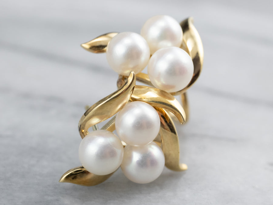 Gold Cultured Pearl Cluster Earrings