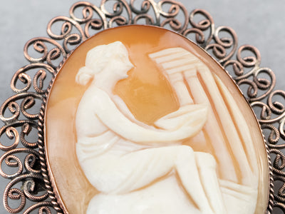 Greek Muse Cameo Brooch or Pendant
