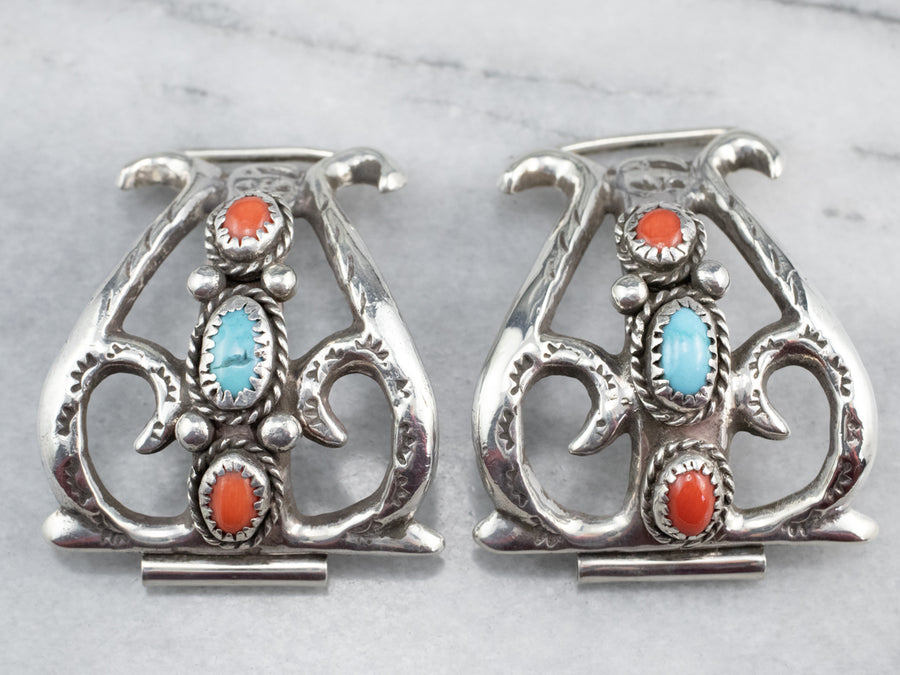 Sterling Silver Turquoise and Coral Watch Tips