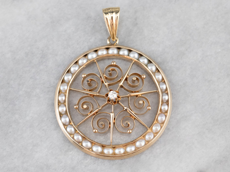 Buttercup Diamond and Pearl Pendant
