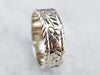 White Gold Floral Pattern Band