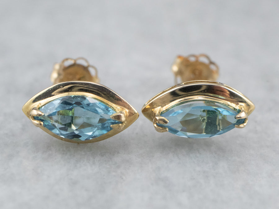 Marquise Cut Blue Topaz Gold Stud Earrings