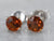 Orange Citrine White Gold Stud Earrings