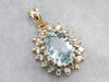 Aquamarine Diamond Halo Gold Pendant