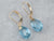 Blue Topaz Briolette Gold Drop Earrings