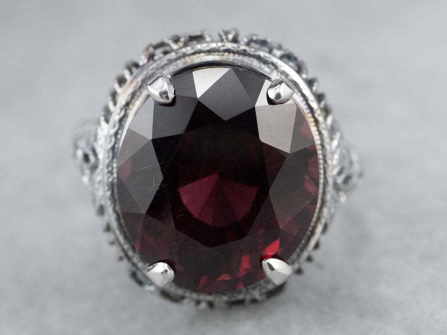 Art Deco Rhodolite Garnet White Gold Filigree Ring