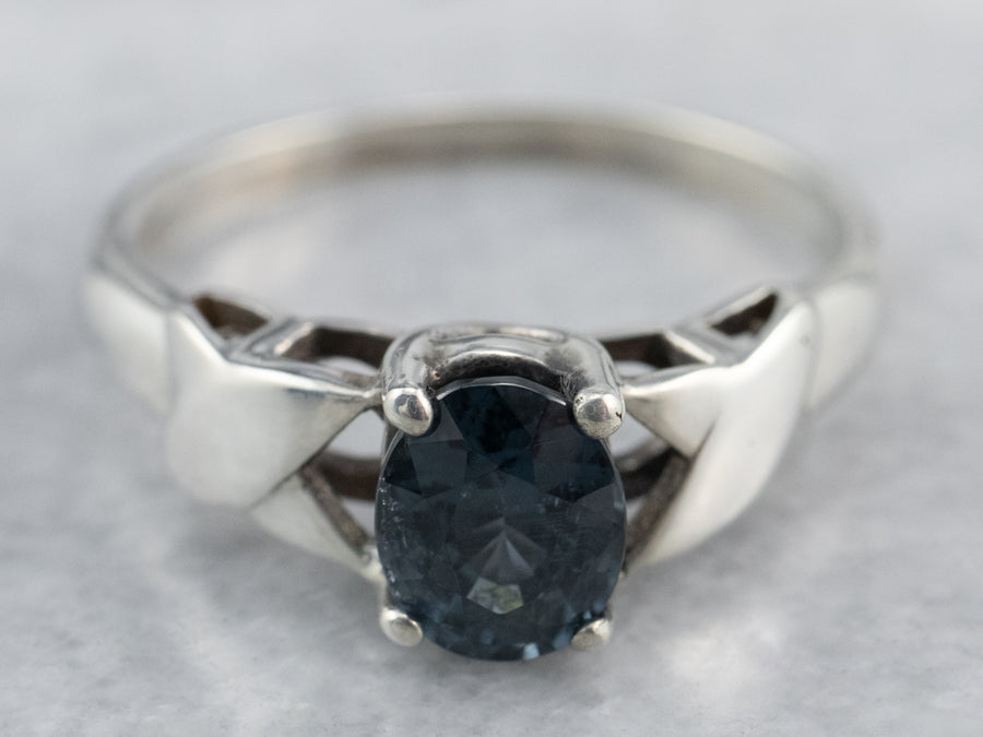 Teal Blue Spinel Sterling Silver Solitaire Ring