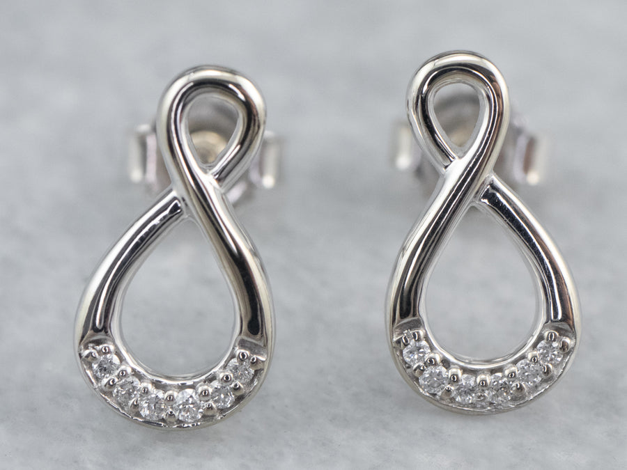 Diamond Infinity Drop Earrings
