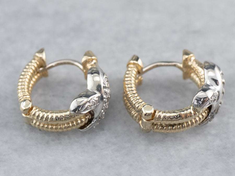 Two Tone Diamond Rope Twist Hoop Earrings