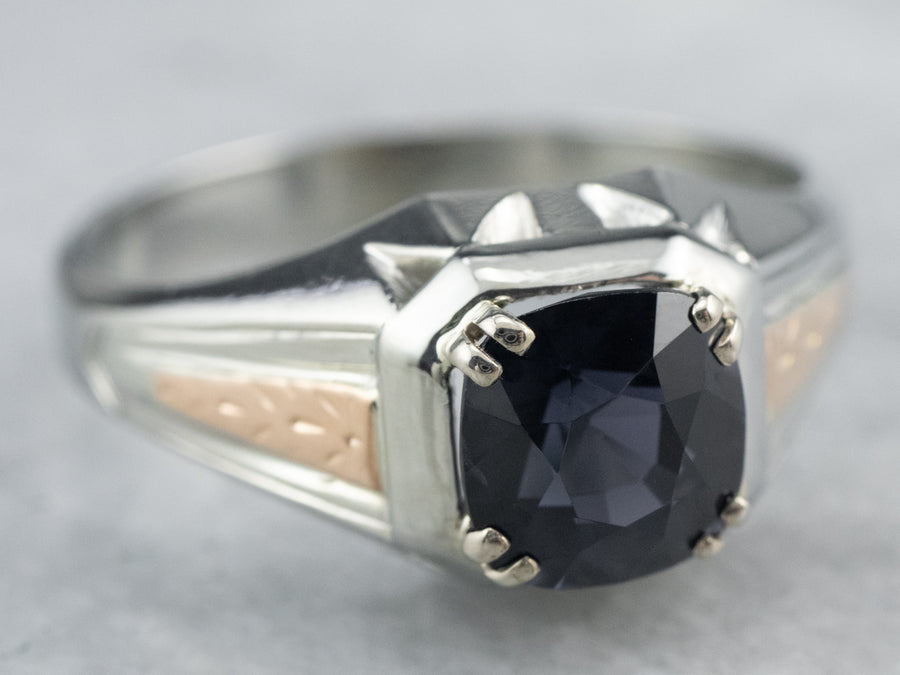 Two Tone Gold Vintage Spinel Solitaire Ring