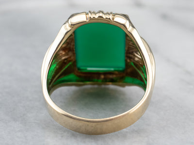 Bold Men's Green Onyx Statement Ring