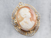 Vintage Gold Filigree Cameo Brooch or Pendant