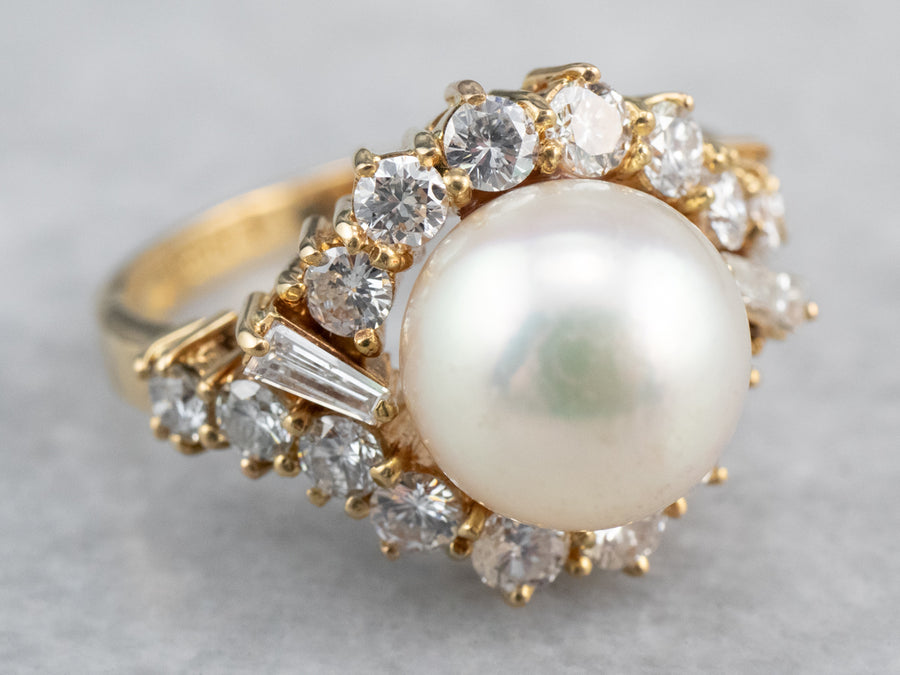 Pearl and Diamond Halo Cocktail Ring