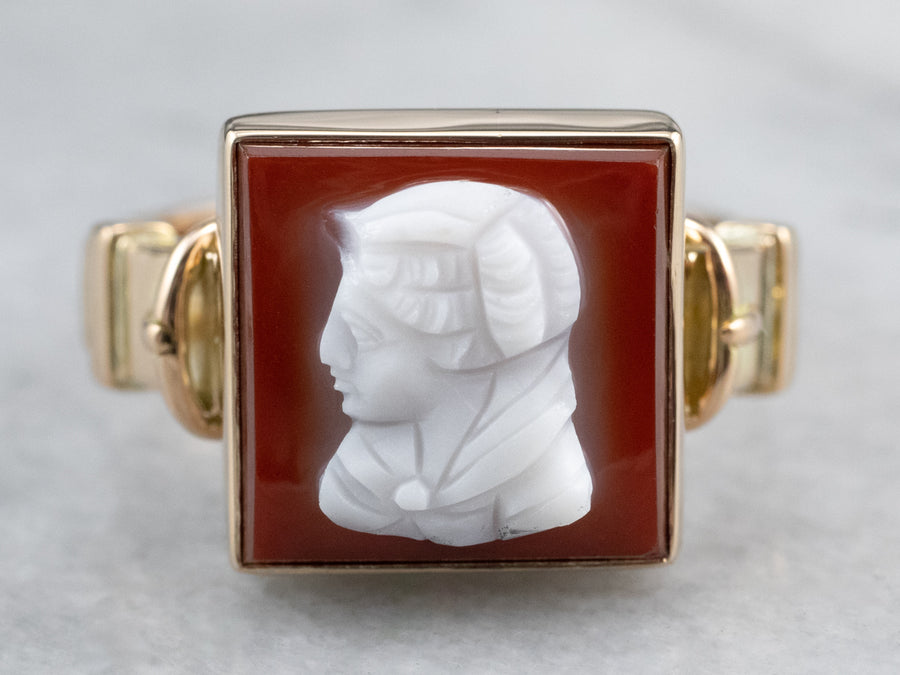 Vintage Hardstone Cameo Gold Ring