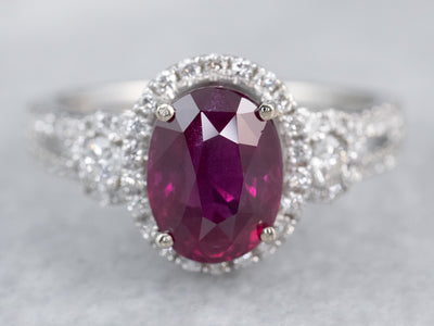 Modern Ruby and Diamond Engagement Ring