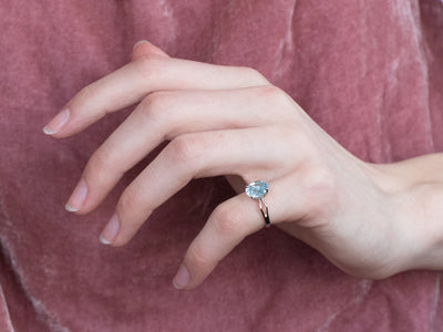 White Gold Blue Topaz Solitaire Ring