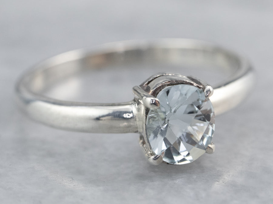 Sterling Silver Aquamarine Solitaire Ring