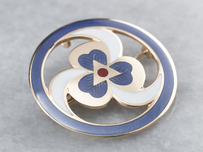 Enamel Spiral and Clover Pin or Pendant