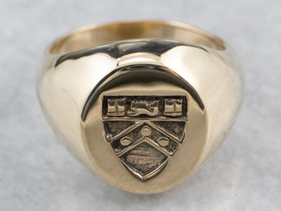 Vintage Coat of Arms Gold Signet Ring