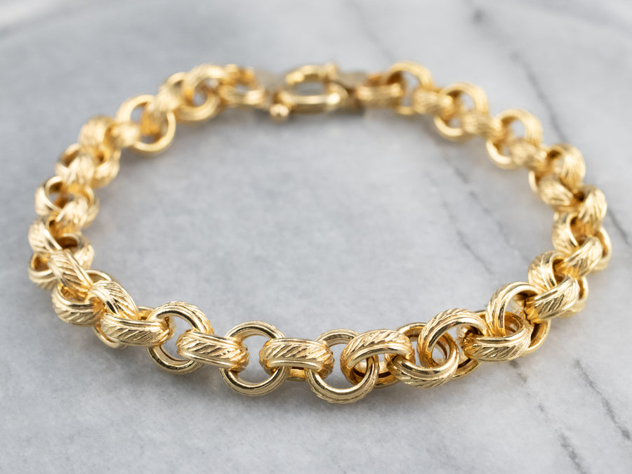 Textured Link 14K Gold Chain Bracelet