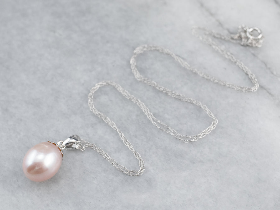 Pink Pearl Pendant White Gold Chain Necklace