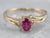 Gold Ruby and Diamond Bypass Ring