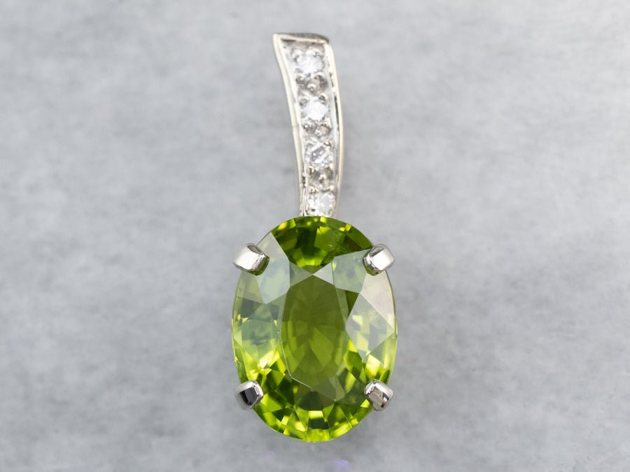 Peridot Diamond White Gold Pendant