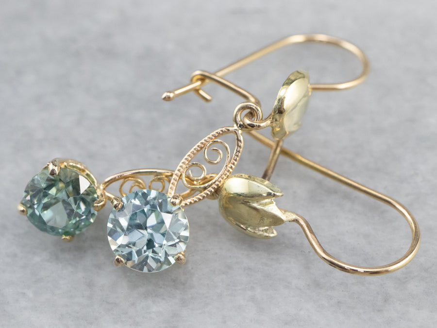 Blue Zircon Gold Filigree Drop Earrings