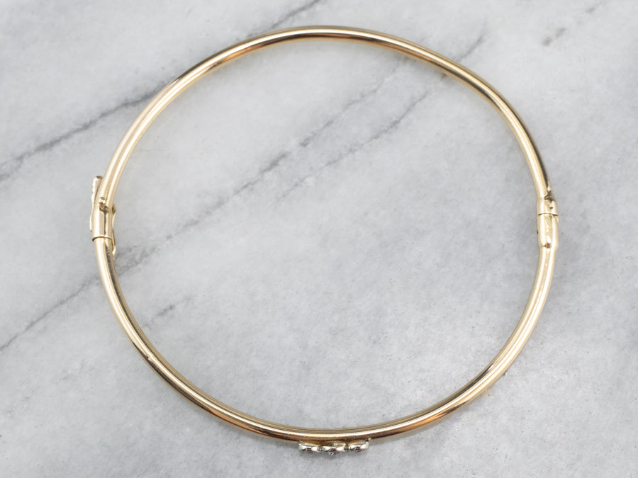 Minimalist Diamond 18K Gold Thin Bangle Bracelet