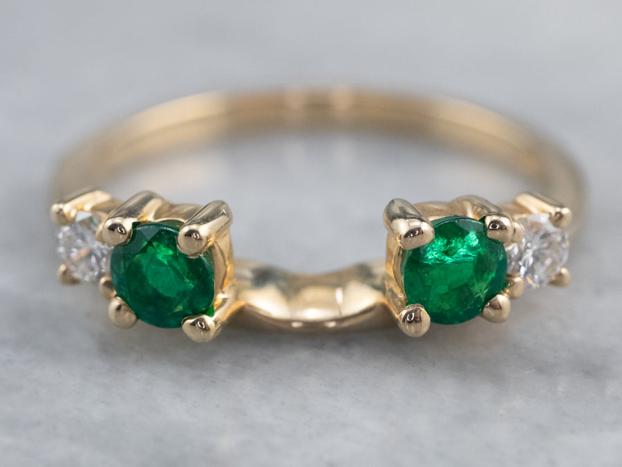 Emerald and Diamond Enhancer Ring