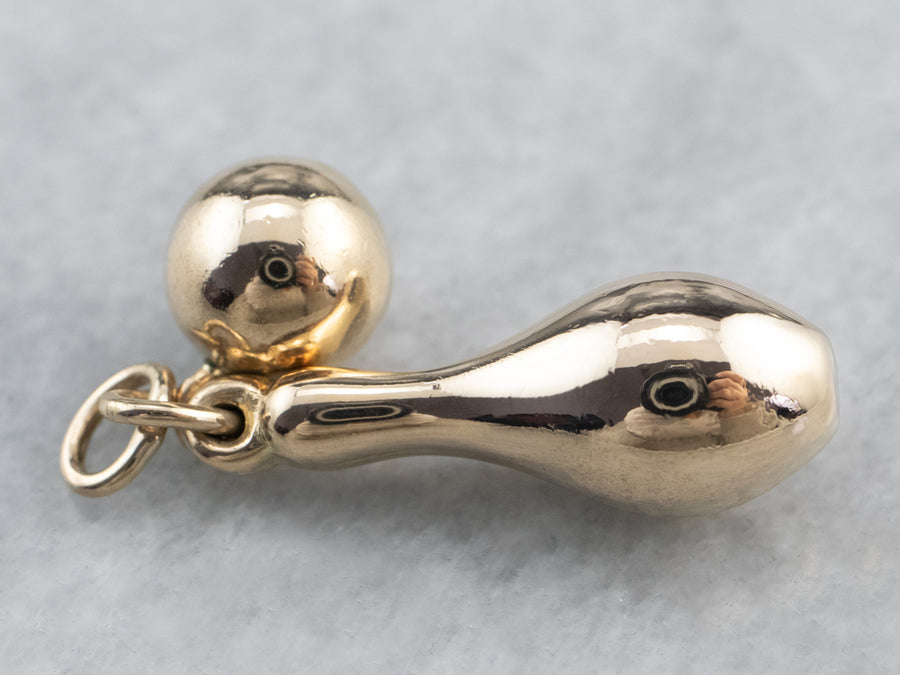 Large Vintage Gold Bowling Charm