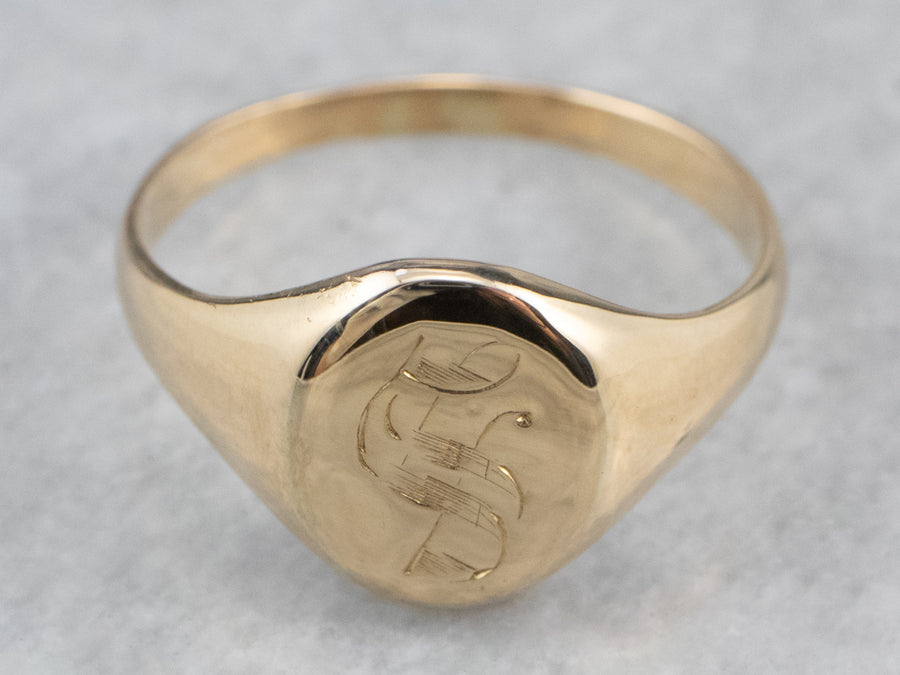 "Antique Monogram ""S"" Signet Ring"