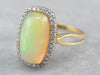 Opal Diamond Halo Cocktail Ring