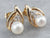 Pearl Diamond Gold Stud Earrings