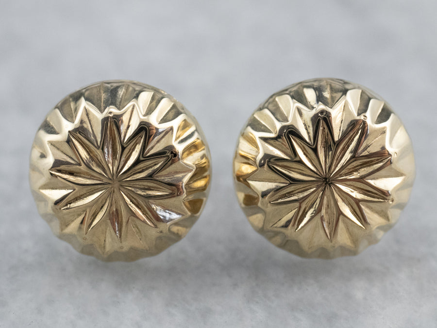 Faceted 14K Gold Button Stud Earrings