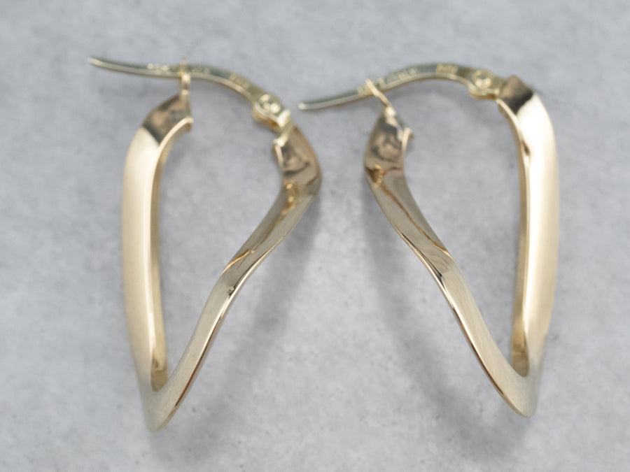 Modernist Twisted Gold Hoop Earrings