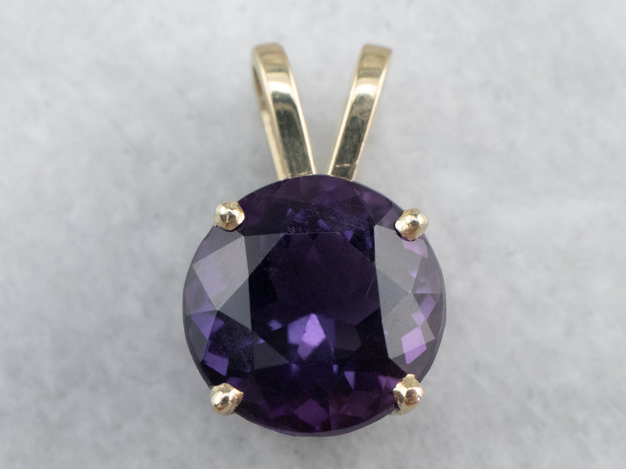 Round Amethyst Gold Solitaire Pendant
