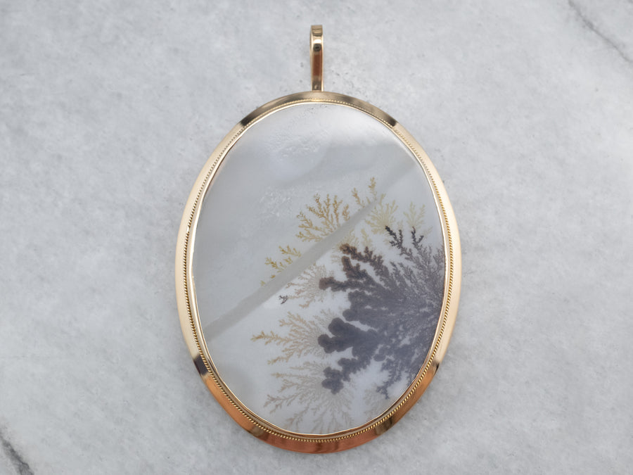 Dendritic Agate 18K Gold Statement Pendant