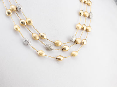 Three Strand Diamond Gold Station Necklace