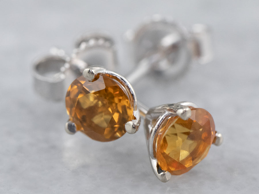 Round Citrine White Gold Stud Earrings