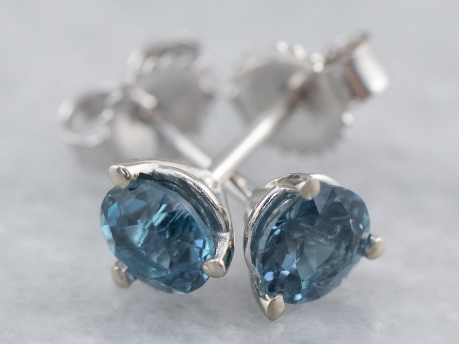 Round Blue Topaz White Gold Stud Earrings