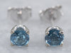 Blue Topaz White Gold Stud Earrings