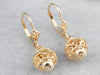 14K Gold Filigree Bauble Drop Earrings