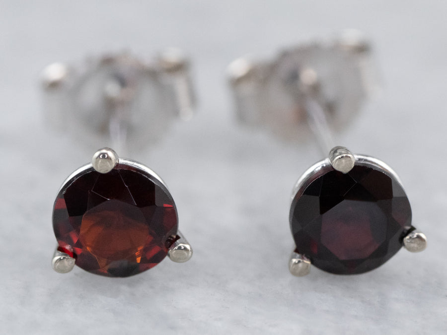 Garnet White Gold Stud Earrings