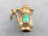 Ornate Teal Glass and Gold Pitcher Charm